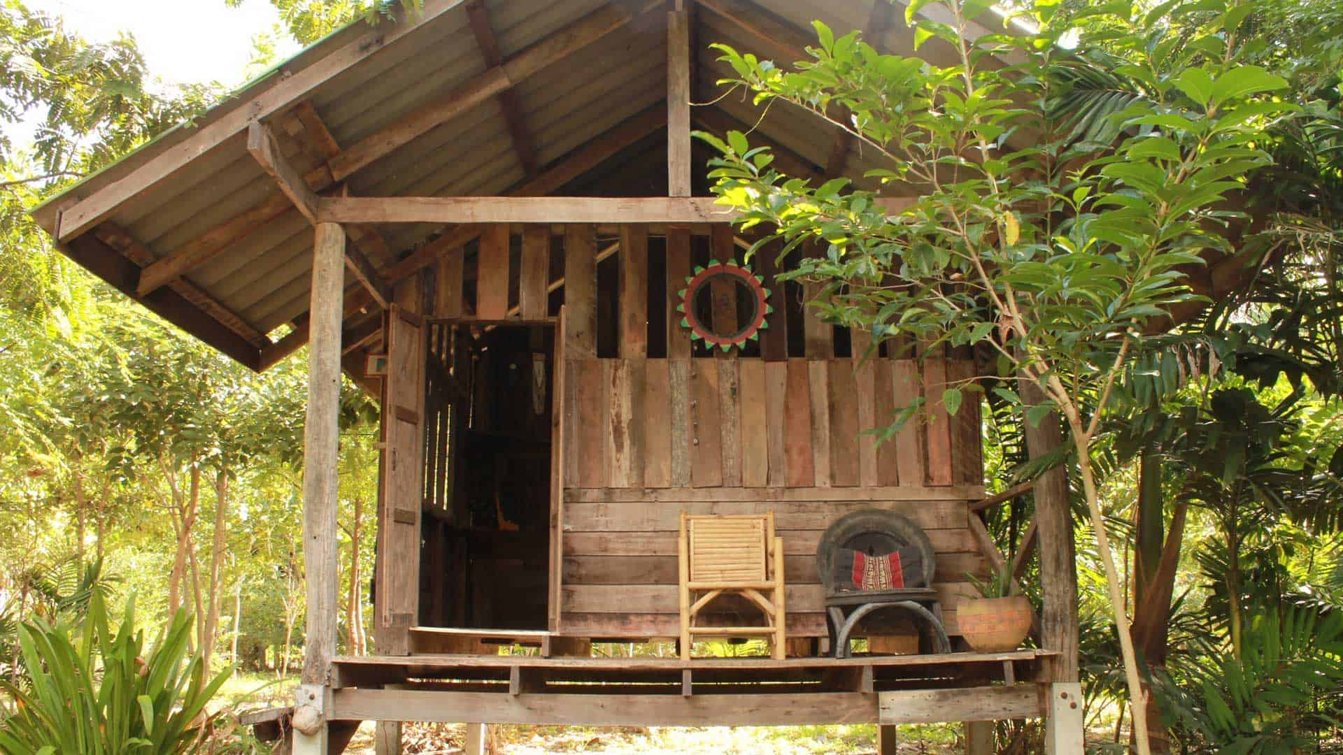Image of a private teak bungalow's porch