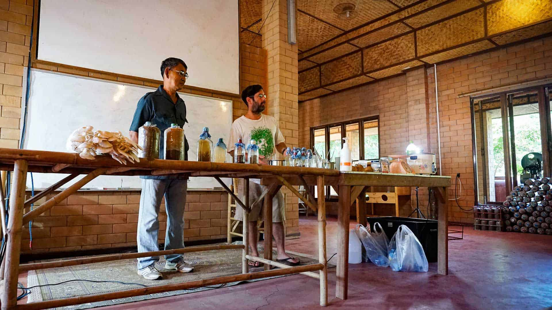 Beau Wickboldt teaching Permaculture in the classroom