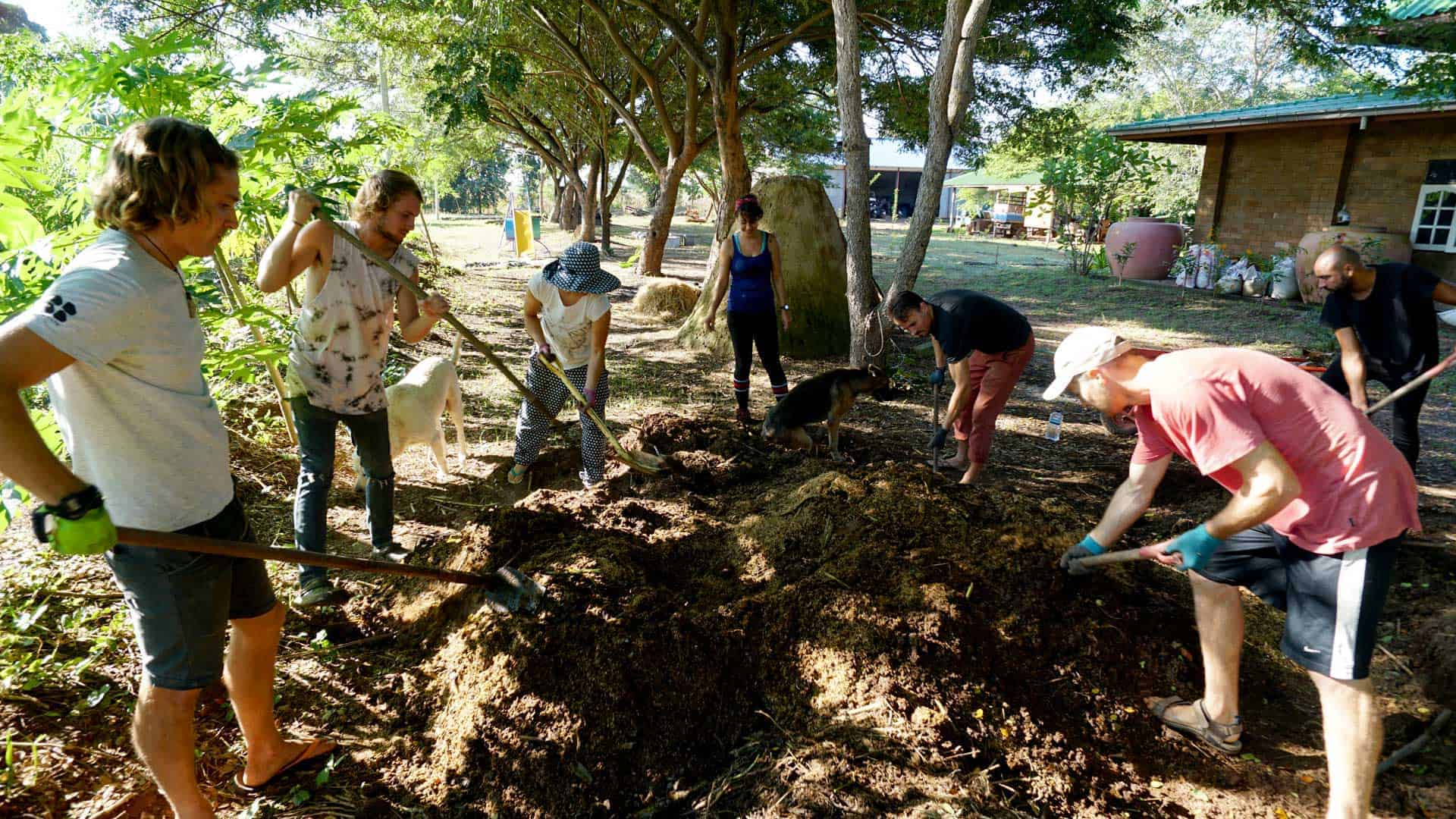 Image of permaculture students mixing the compost pile