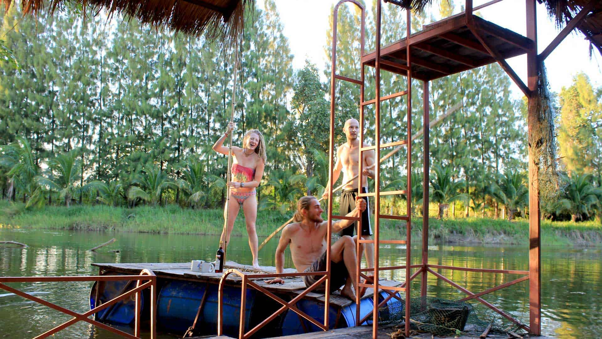 Image of permaculture students ready for swimming