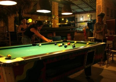 Image of permaculture students playing pool