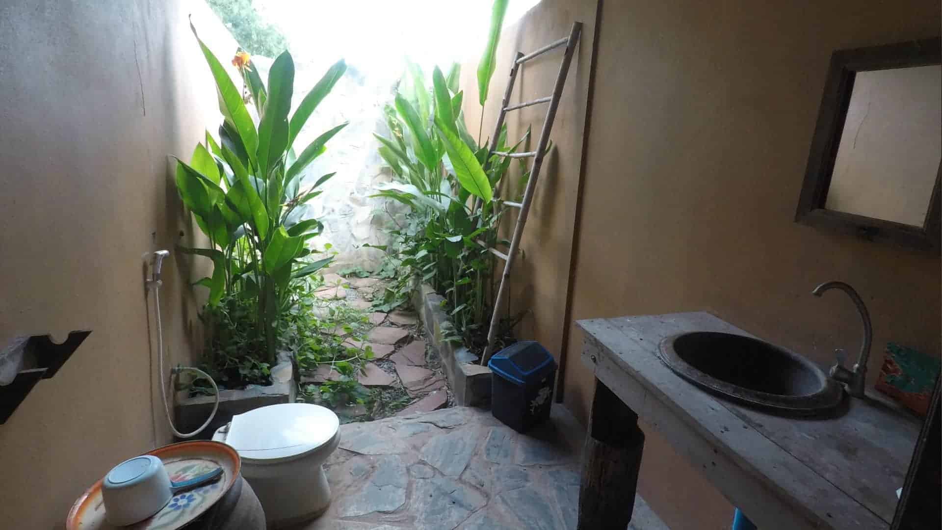 Image of the permaculture open-air tropical showers