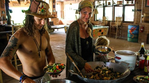 Buffet lunch at Rak Tamachat Permaculture Thailand