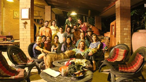 Group picture from the outdoor patio relaxing area at Rak Tamachat Permaculture Thailand